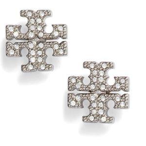 Tory Burch Crystal Pave Logo Earrings